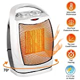 Oscillating Space Heater  Forced Fan Heating with Stay Cool Housing - Thermal Ceramic PTC with Tip-Over Safety Cut-Off, Overheat Protection and Adjustable Thermostat - Rotates 70 - by Bovado USA