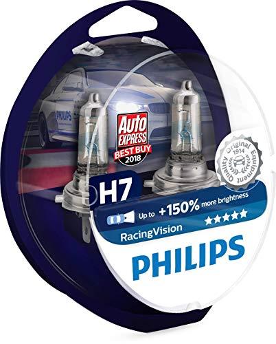 Philips 12972RVS2 Racing Vision +150% Lampadina Fari Auto, H7, Temperatura della luce 3500K, 12V,...