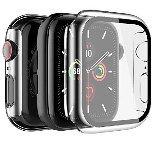 LK Custodia Compatibile per Apple Watch 40mm Series 5/4 Pellicola Protettiva, [2 Pezzi] [HD Clear] Cover Rigida Vetro Temperato per iwatch Series 5/4 40mm - Trasparente