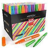 Arteza Subrayadores de colores   Pack de 60   Marcadores fluorescentes de punta ancha y estrecha  ...