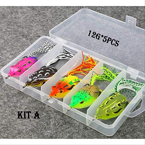 6 / 12g Set di esche morbide per rane con peso misto e colore 5pcs / rane multiple per esche in silicone per attrezzatura da pesca in acqua dolce 12G bianco
