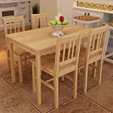 EstaHome 5 Piece Dining Set Dining Room Set | Wooden Kitchen Table and Chairs for 4 | Wood Table and 4 Chairs Set | Natural Pine Wood | 42.5'x 25.6'x 28.7' & 16.3'x 17.9'x 33.9'
