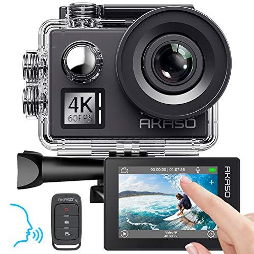 AKASO Action Cam Native 4K/60fps 20MP WiFi,Touch Screen,Comandi Vocali,EIS 40m Impermeabile, 8 Volte Zoom, Angolo Variabile,Telecomando con Batterie 1050mAh x2 (V50 Elite)