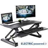 VIVO Black Electric Height Adjustable 36 inch Standing Desk Converter | Sit Stand Tabletop Dual Monitor and Laptop Riser Workstation (DESK-V000EB)