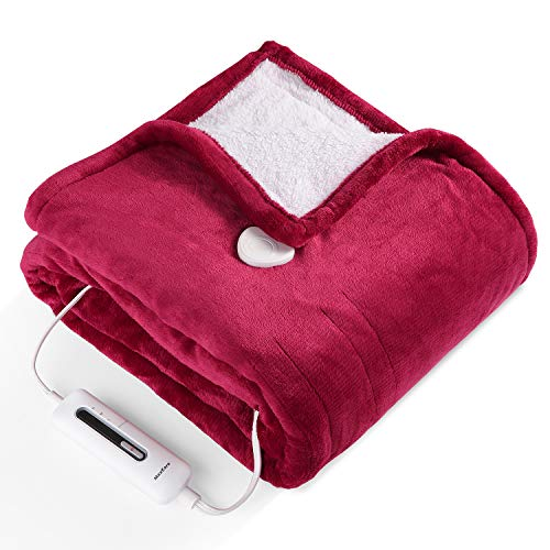 MaxKare Electric Blanket Heated Throw Flannel & Sherpa Reversible Fast Heating Blanket 50' x 60', ETL Certification with 3 Heating Levels & 4 Hours Auto Off, Home Office Use & Machine Washable