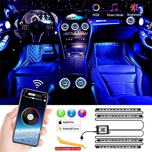 Luci LED Interne per Auto, LED Auto Interni Striscia, 48 LED Impermeabili Multi Colori e Attivati dal Suono, Barre Luminose di Ricarica porta USB, Impermeabile IP67 Luci auto Interni 12V