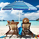 Aclumsy 7' Portable Beach Umbrella with Tilt and Silver Coating Inside, Air Vent Parasol Sun...