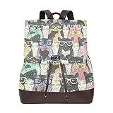 Yuanmeiju Mochila de Cuero Rucksack Animal Pattern Cute Cats Colorful Daypack Bags for Girls Boys