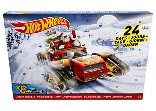 Hot Wheels DXH60 - Calendario dell'avvento con 8 Auto Decorate 16 Accessori