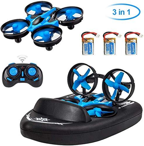 RCTOYS Hovercraft Giocattolo Bambini 3 in 1 Drone Barca Veicolo Elettrico con Telecomando Luce LED...
