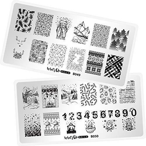 Whats Up Nails - Christmas New Year Winter Nail Stamping Plates (B049, B050) for Nail Art Design