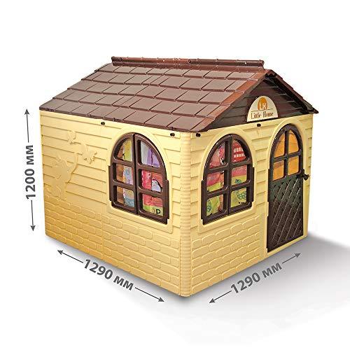 Doloni Kinderspielhaus mit Gardinen, aus Kunstoff, 120х129х129 cm (Beige)