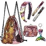 Hanwuo Juego de mochila con cordón de lentejuelas, bolsa de lentejuelas para niñas con cartera pequeña, pulsera de pelo, llavero de cola de pez 6 piezas/set