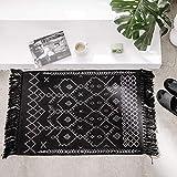 Boho Bathroom Rug, Black White Bath Mat, Woven Cotton Small Throw Rug 2'x3', Tassel Rug for Kitchen Laundry Doorway Bedroom