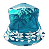 Blue Tropical Surfing with Palm Trees Face Bandana Neck Gaiter, Sun UV Protection Half Mask Scarf, Reusable Motorcycle Balaclava for Men and Women