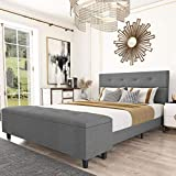 Amolife Queen Platform Bed Frame with 120L Storage Ottoman and Upholstered Button Tufted Headboard/ 65 Inches Storage Bench,14 Solid Wood Slat Support, Extra Long, Easy Assembly, Dark Grey