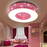 Malovecf Modern and Art Children's Room Meteor Round Ceiling Light for Boys and Girls, 40CM, 24W, White Light (Pink)