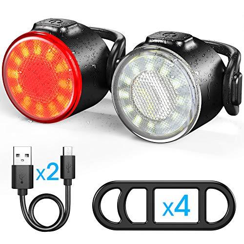 Set di luci bicicletta, luce anteriore e fanale posteriore ricaricabile USB, luce per bicicletta a LED impermeabile IPX4, 6 modalit di luminosit, adatto a tutte le biciclette e tutti i tipi di tempo