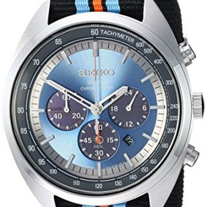 Seiko Men's RECRAFT Series Stainless Steel Japanese-Quartz Watch with Nylon Strap, Black, 21.65 (Model: SSC667) 23