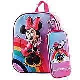 Mochila Infantil Minnie, Mochila 3D Minnie Mickey Mouse, Estuche para Lápices, Mochila Escolar para Niños, Mochila de Viaje para Deportes al Aire Libre, Regalo de Cumpleaños para Niños