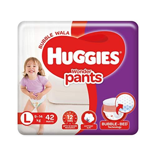 Huggies Wonder Pants, Large (L) Size Baby Diaper Pants, 9 - 14 kg, 42 count, with Bubble Bed...