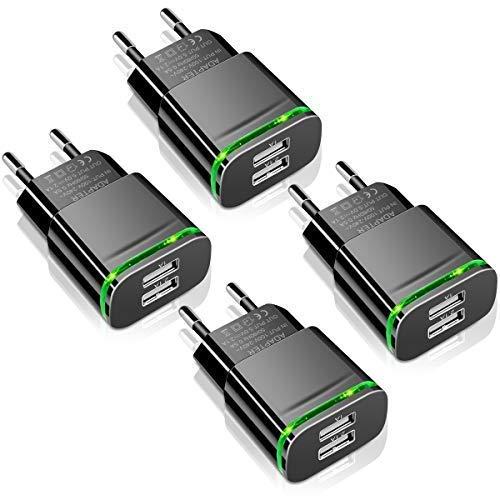 LUOATIP Caricatore USB da Muro, 4-Pack 2.1A/5V Caricabatterie Alimentatore Presa USB 2 Porte, Spina...