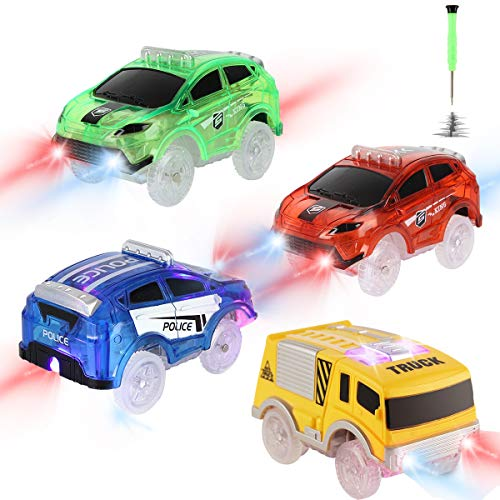 Tracks Cars Replacement only, Toy Cars for Magic Tracks Glow in The...