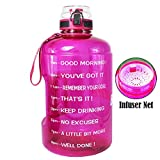 QuiFit Gallon/128 oz Water Bottle with Strainer & Time Marker,Wide Mouth Fast Flow,Large BPA Free Infuser Water Bottle,for Fitness and Outdoor Enthusiasts (Fuchsia, 1 gallon)