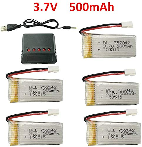 Fytoo 5PCS 3.7V 500mAh 25C LiBattery and 5in1 Charger for JJRC H31 H37 H6D Hubsan X4 FPV H107C H107D...