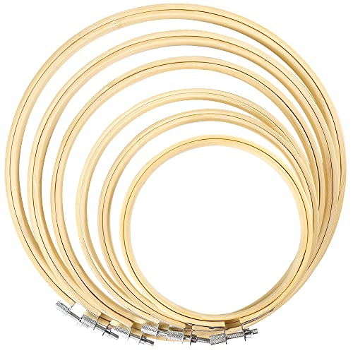 Caydo 6 Pieces Embroidery Hoop Set Bamboo Circle Cross Stitch...