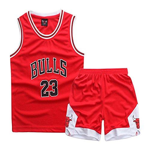 Sokaly Ragazzi Chicago Bulls Jorden # 23 Golden State Curry BOSTON Pantaloncini da Basket Jerseys set di abbigliamento sportivo Maglie Top e Shorts 3-10anni (Rosso#23, XL(7-8 anni))