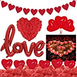 Saint-Valentin Décorations, Bougies Romantiques Pétales de Rose, 25 Bougies de Coeur 1000 Pétales de Rose 20 Ballons Coeur LOVE Ballon Décoration