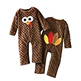 Fiomva Newborn Infant Baby Boy Girl Thanksgiving Romper Turkey Bodysuit Jumpsuit One-Piece Clothes Outfits (Brown, 12-18Months)