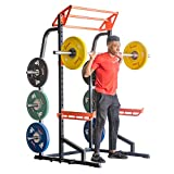 Sunny Health & Fitness Power Zone Half Rack Heavy Duty Performance Power Cage with 1000 LB Weight Capacity – SF-XF9933, Black