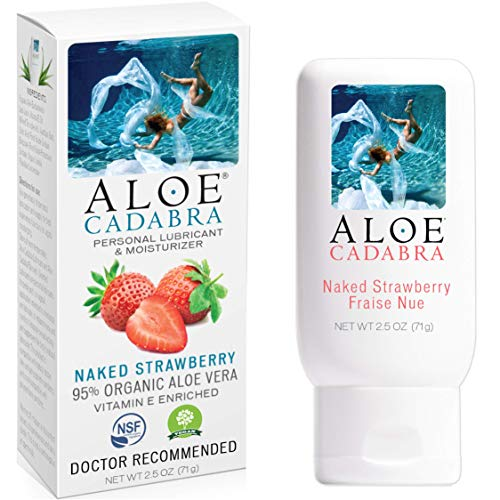 Aloe Cadabra Flavored Personal Lubricant, Naked Strawberry Natural Lube for Sex, Oral, Women, Men & Couples, 2.5 Ounce