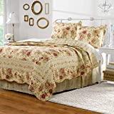 BrylaneHome Rosalie Quilt - Full/Queen, Ivory Rose