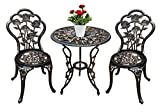 Jardin de panda Bistro Table Set, 3 Piece Outdoor Patio Set Rust-Resistant Cast Aluminum Rose Design Outdoor Table and Chairs Furniture with Umbrella Hole (Antique Bronze)