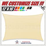 ColourTree 2nd Gen 12' x 16' Beige Sun Shade Sail CanopyRectangle, Commercial Standard Heavy Duty, We Make Custom Size