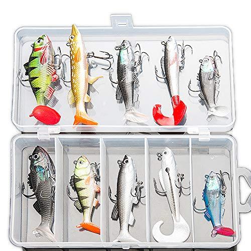 DONQL, kit di esche da pesca morbide, esche da pesca, esche da pesca per trota, spigola, salmone, esche per spinner, esche artificiali in silicone con scatola, 10 pezzi