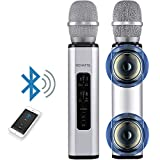 MCHATTE Bluetooth Karaoke Microphone, Wireless Portable Handheld Karaoke Machine for Party/Meeting/Speech, Built-in Speaker, Reverb Treble Bass Control, for Android/iOS/PC (Silver)