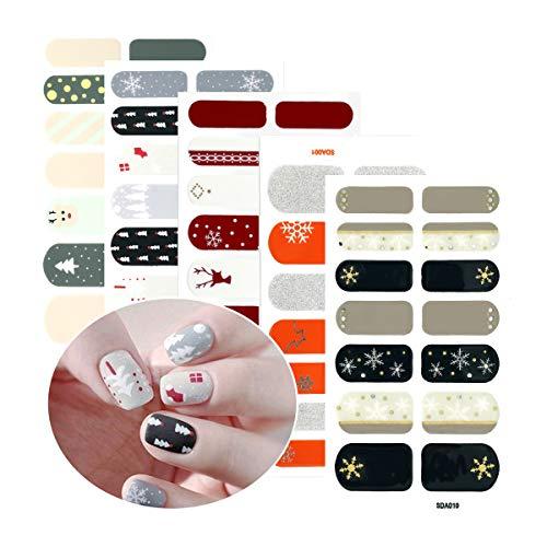 5 Sheets Christmas Nail Stickers Strip Nail Polish Stickers Full Nail Wrap Adhesive Nail Decals With Deer Snowman Xmas Tree Design and Nail File