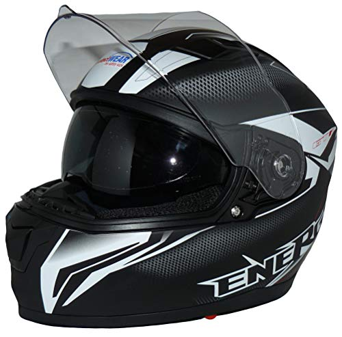 protectWEAR the safety kick Casque de moto intégral Casque intégral avec pare-soleil intégré et visière pliable FS-818-SW-S