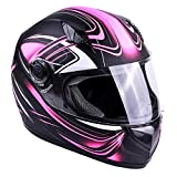 Typhoon Women's Full Face Motorcycle Helmet DOT - SAME DAY SHIPPING (Matte Pink, XXXXL)