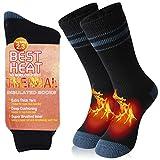 Bun Large Women's Warm Thermal Socks, Winter Workout Training Socks Heated Insulated Fur Lined Socks Home Slipper Socks Hot Warm Outdoor Skiing Anniversary Present Socks, 1 Pair, Black Grey Stripe, M
