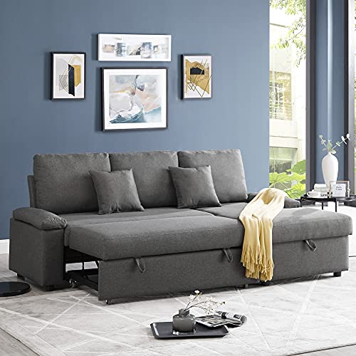 GOOD & GRACIOUS Sectional Sleeper Sofa Couch with Pull Out Bed, L Shaped Modern Sectional Sofa Bed with Chaise Lounge and Storage Function for Living Room, Dark Gray