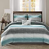 Madison Park Essentials Cozy Bed in a Bag Comforter, Vibrant Color Design All Season Down Alternative Cover with Complete Sheet Set, Cal King(104'x92'), Strip Aqua