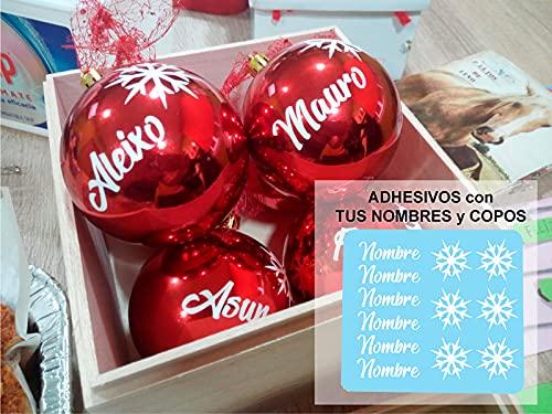 TOKPERSONAL 6 Nombres Adhesivos y 6 Copos DE Nieve Adhesivos para Pegar en Tus Bolas de Navidad (Solo Incluye LOS Nombres Y Copos Adhesivos, NO Incluye Las Bolas) - Color Blanco