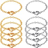 10 Pieces Chain Bracelet OT Toggle Stainless Steel Bracelet Link Chains Clasp Bracelet Toggle Bracelets with OT Toggle Clasp Jewelry Making for Women Girls Birthday Christmas Party Supplies