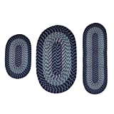 Better Trends Alpine Braid Collection is Durable & Stain Resistant Reversible Indoor Area Utility Rug 100% Polypropylene in Vibrant Colors, 3 Piece Set, Navy Stripe
