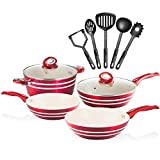 Chef's Star 11 Piece Professional Grade Aluminum Nonstick Pots and Pans - Induction Ready Cookware Set, 4 Pots, 2 Lids, 5 Cooking Utensils, Red and Cream Design